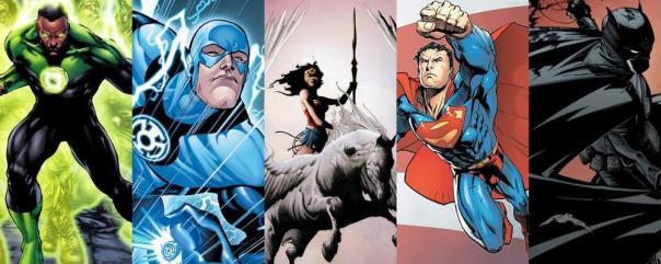 Green Lantern, The Flash, Wonder Woman, Superman, and Batman