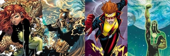 Poison Ivy, Doctor Fate, Flash, and Green Lantern