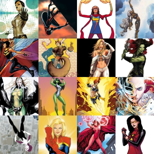 Quake, Mayday Parker, Ms. Marvel, Storm, Wasp, Squirrel Girl, Emma Frost, Gamora, Rogue, She-Hulk, Jean Grey, Jane Foster, Spider-Gwen, Captain Marvel, Scarlet Witch, and Spider-Woman