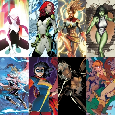 Spider-Gwen, Jean Grey, Captain Marvel, She-Hulk, Jane Foster, Ms. Marvel, Storm, and Squirrel Girl